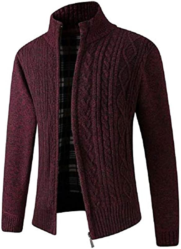 H&E Men's Knit Zip Front Regular Fit Stand Collar Fleece Casual Cardigan Sweater Coat: Odzież