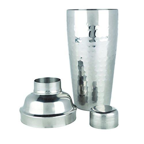 (Viski 2664 Admiral Hammered Metal Cocktail Shaker, Silver)