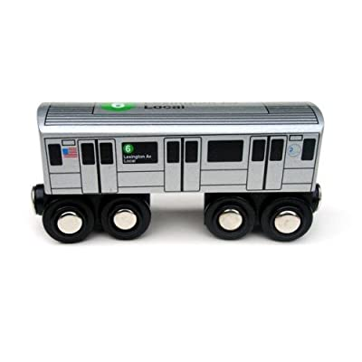 Munipals NYC Subway 6 Car Toy Train Wooden Railway Compatible: Toys & Games