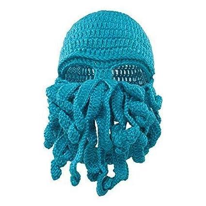 76b8cb34b Hat Crochet - Funny Tentacle Octopus Hat Crochet Beard Beanie Men 39 ...