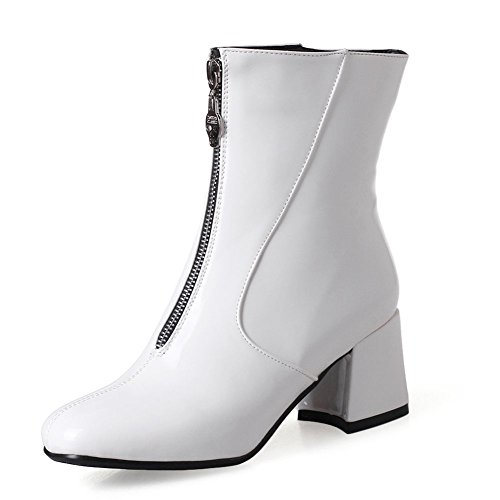 KingRover Women's Fashion Dressy Ankle Boots Chunky Block Heels Stylish Square Toe Warm Casual Patent Leather Booties White 23vtX4