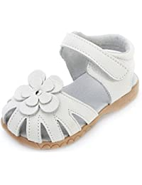 Girls Genuine Leather Solid Flower Sandals