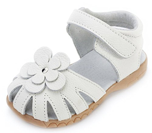 Orgrimmar Girls Sandals Genuine Leather Soft Flower Princess Flat Shoes Girl Summer Sandals Closed Toe Shoes(6 M US Toddler,White)