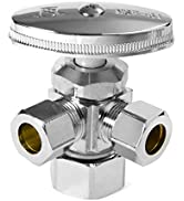 """EFIELD Dual Compression Outlet Angle Stop Valve,1/2"""" NOM (5/8"""" OD) x (3/8 inch x 3/8 inch) Chrome"""