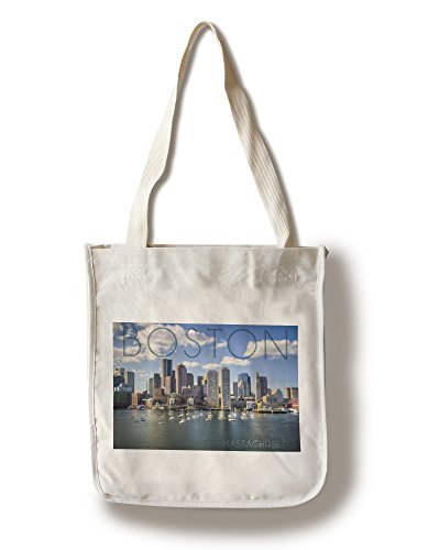 Boston, Massachusetts - Skyline and Sailboats (100% Cotton Tote Bag - Reusable, Gussets, Made in (Boston Canvas Bag)