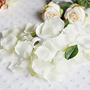 Livelynine Ivory Flower Pedals for Wedding Favors 1000PCS Silk Rose Petals for Romantic Decorations Special Night Wedding Decorations Aisle Runners Engagement Party Decorations 1