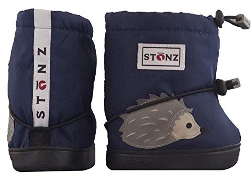 Stonz Three Season Stay-On Baby Booties, for Bare Feet Shoes, for Mild Cold Snow Weather, Hedgehog - Midnight Blue - L -