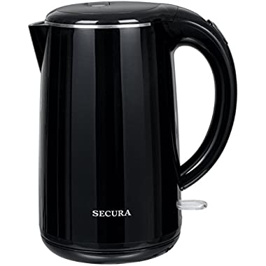 Secura SWK-1701DB Stainless Steel Double Wall Electric Water Kettle, 1.8 quart, Black