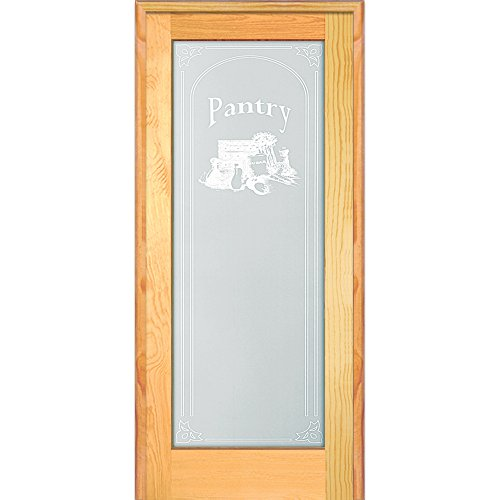 """National Door Company ZZ19983L Unfinished Pine Wood 1 Lite Frosted Glass with Pantry Design, Left Hand Prehung Interior Door, 30"""" x 80"""""""