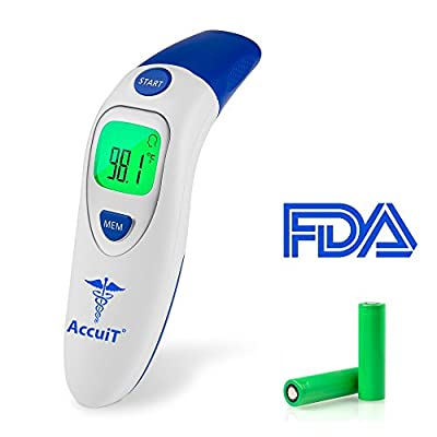 ACCUIT Digital Forehead and Ear Thermometer for Baby, Toddlers, Adults and Pets - Infrared Digital Forehead And Ear Thermometer FDA Approved - No Contact, LED Display, Memory Storage