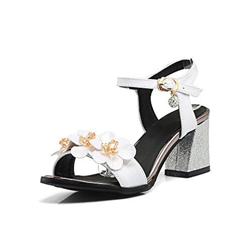 QIN&X Damen Sandalen Block High Heels Peep Toe Knöchelriemen Sommer Schuhe White