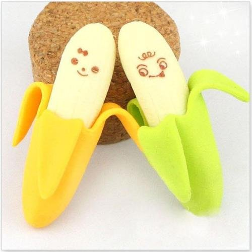 2PCS Lovely Banana Fruit Style Rubber Pencil Eraser