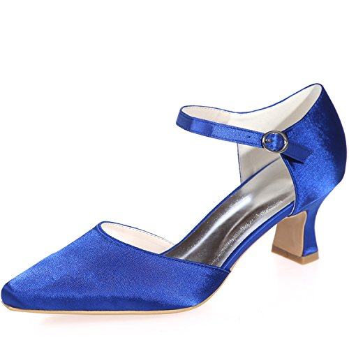 Sarahbridal Women's Pointed Toe Evening Satin Court Shoes Bridal Wedding Party Low Heels Shoes for Girls Size SZXF0723-09 (4 UK - 7.5 UK) Blue 3UD6NZt6