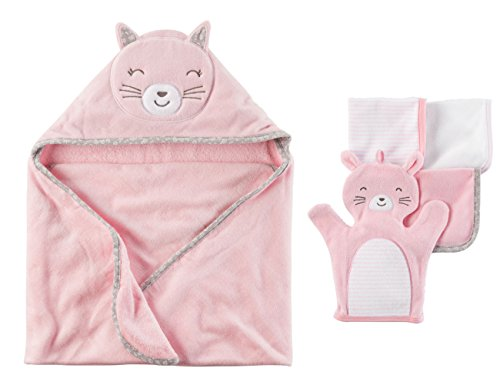 - Carter's Hooded Bath Towel and Washcloth Gift Set - Pink Bunny