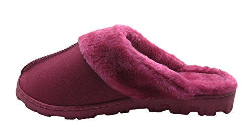 Fashion Suede Blue Cuff Decorative Front and Ladies Berry Faux with Slippers Fur Stitching Micro dttrgZq