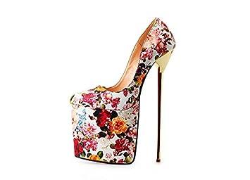 HeiSiMei Zapatos de mujer PU Talón Tacón Tacones / Plataforma Talones / Partido y Noche / Vestido / Negro / Rojo / flor / beige , 49 , black