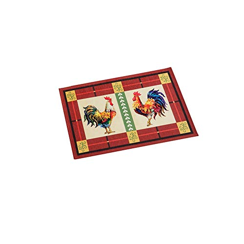 - Charming French Country Rooster Accent Rug with Skid-Resistant Backing, 20