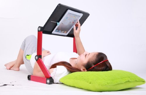 iCraze fOr iPad - Adjustable Vented Laid-back Tablet Table Desk Portable Bed Tray Stand Multi-functional & Ergonomics Design - Compatible with All Tablet Versions up to 17