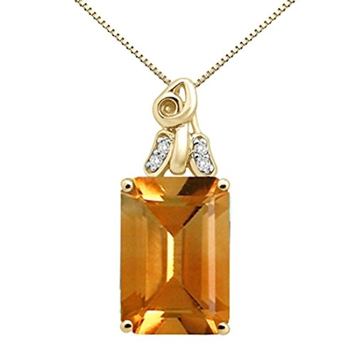 6.50Ct Emerald Cut Citrine and Diamond Pendant in 10K Yellow - Pendant Citrine Cut Emerald