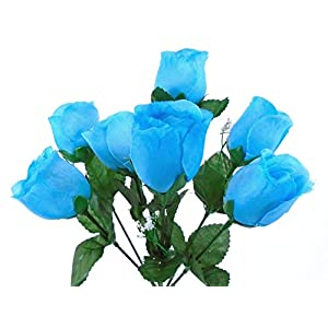 "3 Bushes Turquoise Rose Buds Artificial Silk Flowers 12"" Bouquet 7-898 TQ 29"