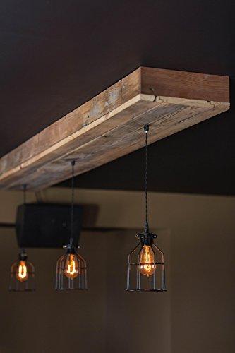 Reclaimed Barn Wood Siding Fixture with Caged Edison Bulbs - Rustic Lighting for Home/Restaurant/Bar