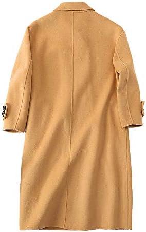 GAOQQ Manteaux Chauds Femme en Laine d'hiver, Manteau Chaud Coupe-Vent à Double Boutonnage Fait Main à Double Face en Cachemire,M