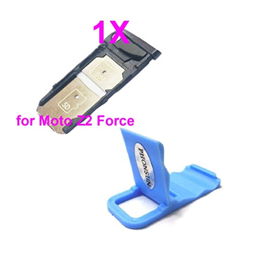 SIM & SD Card Tray Slot Holder Replacement for Motorola Moto Z2 Force XT1789-01 XT1789-02 XT1789-03 XT1789-04 Black + PHONSUN Portable Cellphone Holder