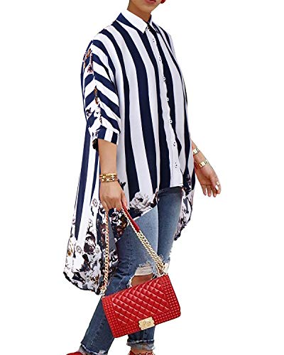 - BIUBIU Long Sleeve Tunic Tops, Women's V Neck Striped Colorblock Batwing Sleeve High Low Hem Loose Blouse Top Jacket Blue Stripes XXL