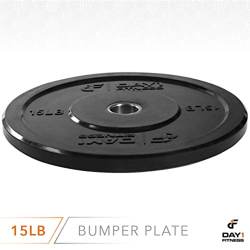 "Day 1 Fitness Olympic Bumper Weighted Plate 2"" for Barbells, Bars – 15 lb Single Plate - Shock-Absorbing, Minimal Bounce Steel Weights with Bumpers for Lifting, Strength Training, and Working Out by Day 1 Fitness (Image #2)"