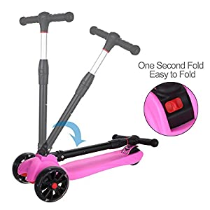 Adjustable Height Folding Kick Scooter Pink Blue with Enlarged PU Flashing Wheels Best Gifts for Kids Children Boys Girls (Pink)