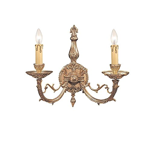 Crystorama Antique Brass Sconce - Crystorama 482-OB, Etta Candle Wall Sconce Lighting, 2 Light, 120 Total Watts, Brass