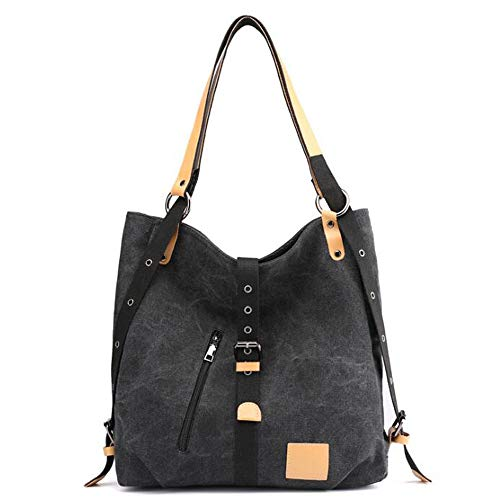 Purse Tote Casual Shoulder Hobos Women's Black Brwon Bags Canvas Large Handbags SwqUSg4x0