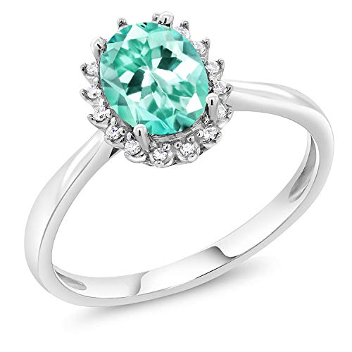 - Gem Stone King 1.20 Ct Oval Blue Apatite 10K White Gold Ring (Size 5)
