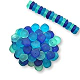 Sea Glass Beads Assortment – Set of 60 – Blues and Greens Mix 123 – Size 15mm – Center Drilled - Recycled Glass – Frosted Beach Glass Beads - 60 Beads in Three Colors