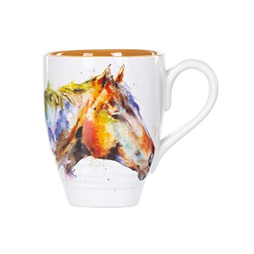 DEMDACO Dean Crouser Horse Head Watercolor Brown On White 16 Ounce Glossy Stoneware Mug With ()