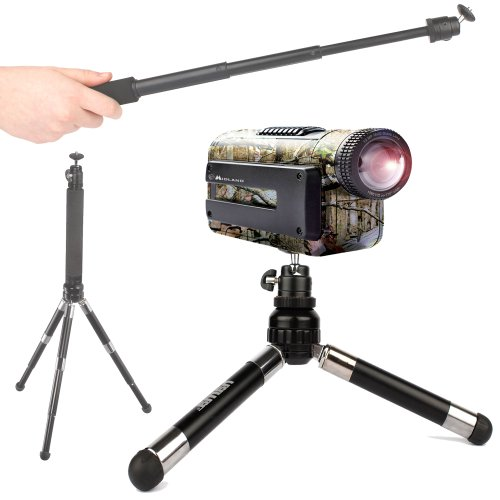 DURAGADGET 2-in-1 Selfie/Vlog Handheld Monopod Extension and Telescopic Tripod for Midland XTC260VP3, XTC280VP, 450VP & Monoprice MHD Sport WiFi / 10629 / Unbranded SJ1000