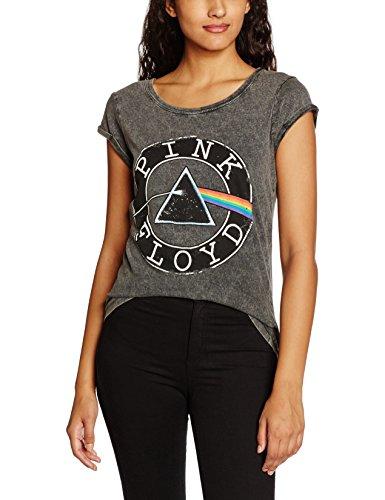 Pink Floyd New Woman T-shirt - Rockoff Trade Women's Vintage Circle Logo Acid Wash T-shirt, Grey, Large