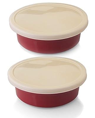 BergHOFF 2 Piece Geminis Round Dish Plastic Cover, Red