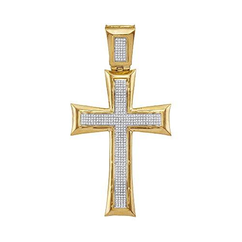 10k Yellow Gold Womens Round Diamond Flared Cross Charm Pendant (1.00 cttw.) (I2-I3 clarity; J-K - Gold Diamond Unisex Cross