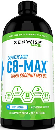 Pure C8 MCT Oil - Coconut C8-Max Caprylic Acid Supplement - Natural Keto Friendly Formula for Weight Loss & Metabolism + Clean Energy - Great for Coffee Drinks + Shakes & Smoothies - 32 FL oz