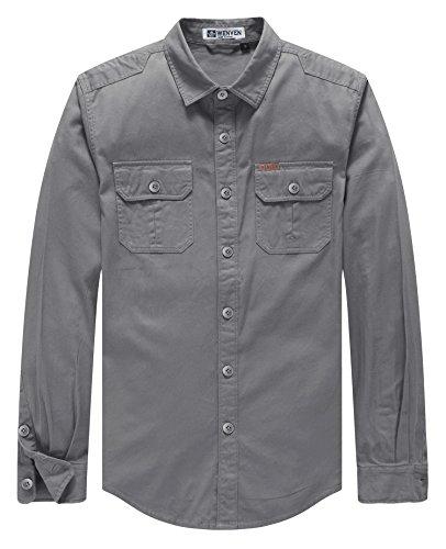 (WenVen Men's Sandstone Twill Original-Fit Work Shirt(Grey,Small))