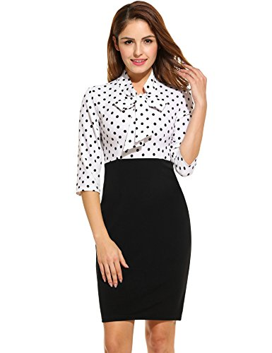 ANGVNS Women 3/4 Sleeve V-Neck Dot Patchwork Package Hip Slim Party Pencil Dress (Knee Sleeves Package compare prices)
