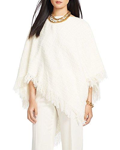 - Lauren Ralph Lauren Womens Albreanna Wool Fringe Poncho Sweater Ivory O/S