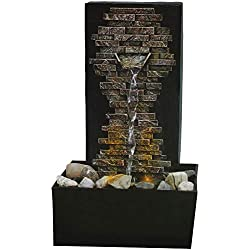 NATURE'S MARK, LLC Slate Brick Wall Fountain - LED Illumination - Relaxing Effect Ambient Noise
