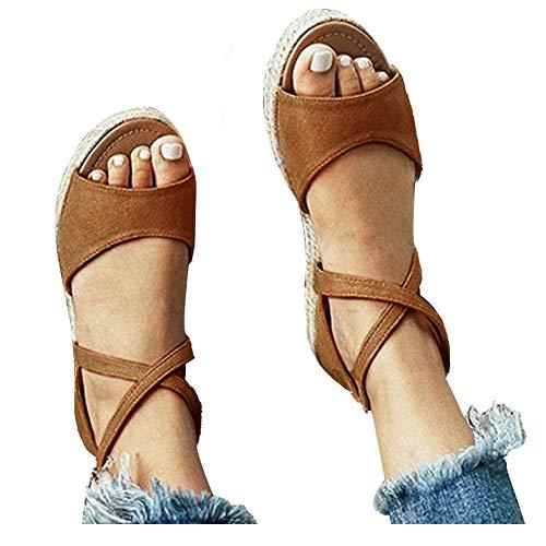 Athlefit Womens Platform Sandals Flat Strap Espadrille Sandals Criss Cross Size 8 -
