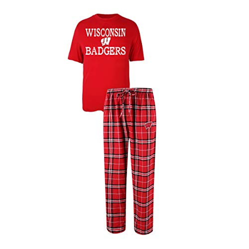 - Concepts Sport Men's NCAA Duo Flannel Pajamas and T-Shirt Sleep Set-Wisconsin Badgers-Large