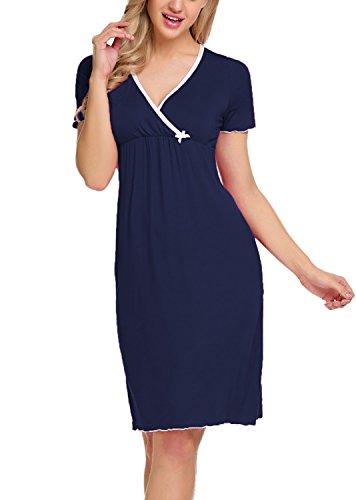 BLUETIME Women's Draped Front Maternity Nursing Nightgown Dress Wrap Sleepwear (L, Dark (Nursing Womens Nightgown)