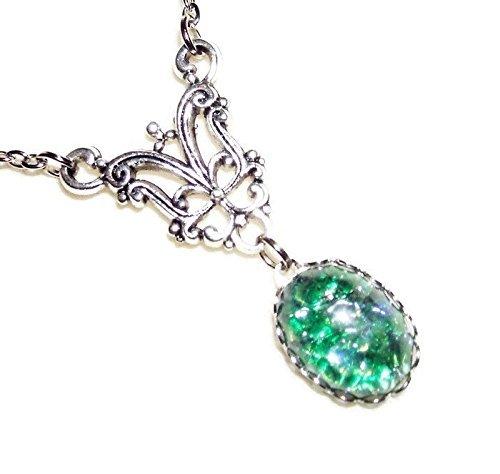 (GREEN OPAL NECKLACE Silver Pltd Vintage Style Pendant CZECH GLASS Fire Opalized)