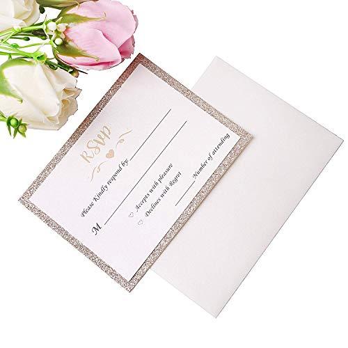 (PONATIA 25 PCS/Lot Gold Glitter RSVP Cards with Printed + Free Envelopes (RSVP Cards))