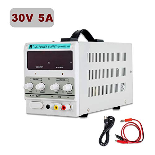 SUNCOO Variable DC Power Supply 30V 5A Adjustable Regulated Lab Bench Power Supply with Digital LED Display Alligator Clip Cable, US Standard Cord ()